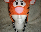 Orange and Black Custom Made Tigger inspired beanie like on Winnie the Pooh with earflaps