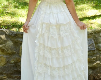 Wedding Clothing Bridal Gowns & Separates  Lace Ivory Wedding Dress Vintage Bohemian Gown Long Boho Wedding Gown Handmade by SuzannaMDesigns