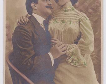 2 Antique Spanish postcards, photograph, handtinted, set of 2