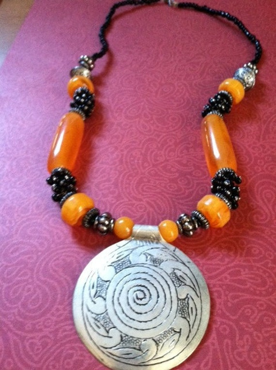 HALF PRICE Sale Tribal Folk Amber Beaded Necklace from Morocco with Large Metal Spiral Pendant