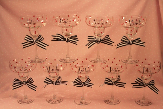 Reserved Listing for Samantha - 9 Bridesmaid Glasses