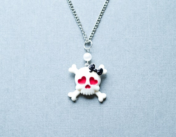Cute Skull Necklace Girly Punk Rock Hearts Bows