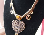 Steampunk Bronze Heart Hemp Choker with Clock Parts