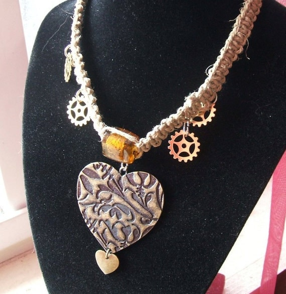 Steampunk Bronze Heart Hemp Choker with Clock Parts