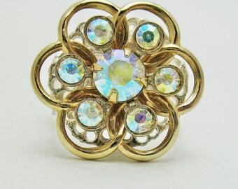 Ring Aurora Borealis Gold Tone on Silvertone Base Repurposed little brooch
