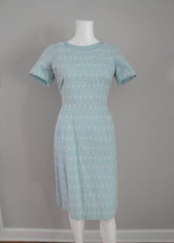 Vintage 1950s Summer Wiggle Dress 50s Cotton Day Dress