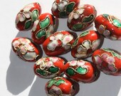 10 Cloisonne enamel beads - red with flowers