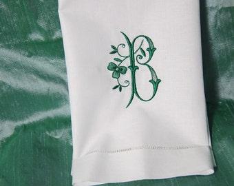 Shamrock Single Letter Monogram Linen Guest Towel