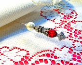CLEARANCE beaded hat pin women red glass white pearl bleeding love maltese heart Victorian Edwardian stick lapel scarf brooch pin TAGT tenX