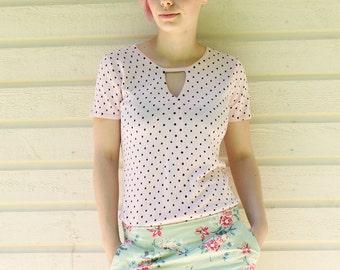 Vintage polka pink and black shirt
