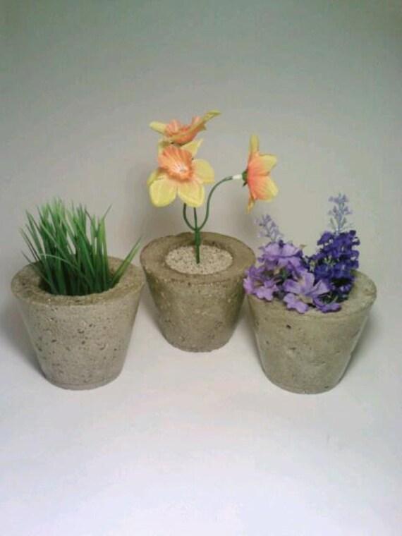 Concrete Vase, 3 Cement Candle Holders, Tealight Holder, Miniature Vase
