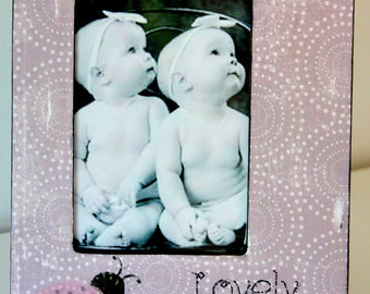 Lovely Ladybugs Pink Cute Distressed Vintage Chic Picture Frame Purple 4x6 Keepsake
