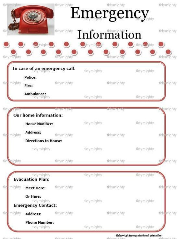 Emergency Contact Information Template Emergency Information Contacts