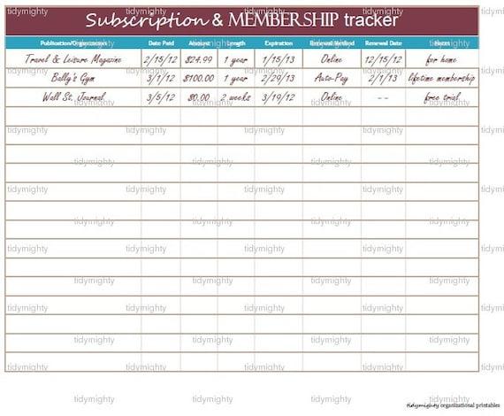 Subscription / Membership Tracker / Organizer - Printable PDF (INSTANT DOWNLOAD)