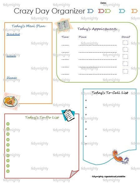 Crazy Day Daily Planner / Organizer Printable PDF by tidymighty