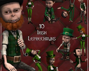 Irish Leprechauns Clip Art, Digital ClipArt for Scrapbooking, Card Making, St Patrick's Day etc - Instant Download