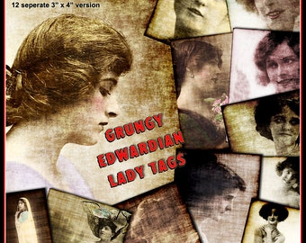 Edwardian Lady Tags - Grungy Digital Collage Sheet and Images Distressed for Crafting - Instant Download