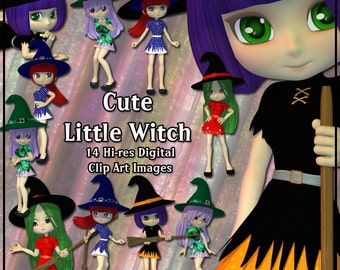 Witch Digital Clip Art - 12 Cute Little Magical Girls for your Scrapbooking, Halloween & Birthday Card making