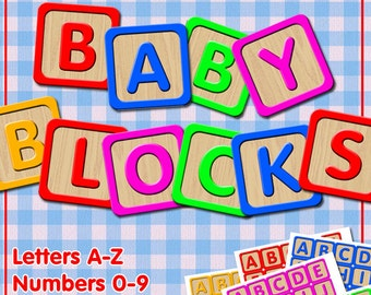 baby blocks digital collage sheet letters a to z numbers 0 to 9 in 5 different colours alphabet cubes for your crafting projects