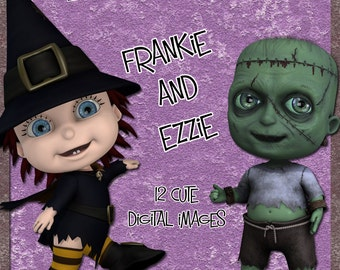 Digital Clip Art Frankie and Ezzie- cute spooky witch & monster images - scrapbooking card making halloween and other crafts