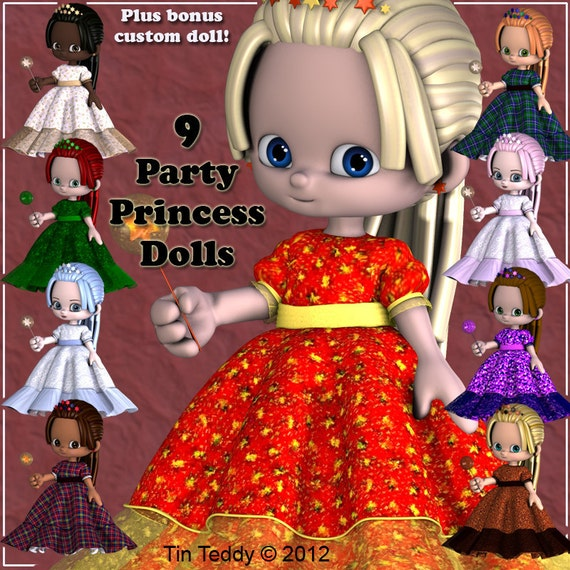Party Princess Dolls, Digital Clip Art Images for Scrapbooking, Birthday Card Making & More - With Bonus Custom Doll Just For You