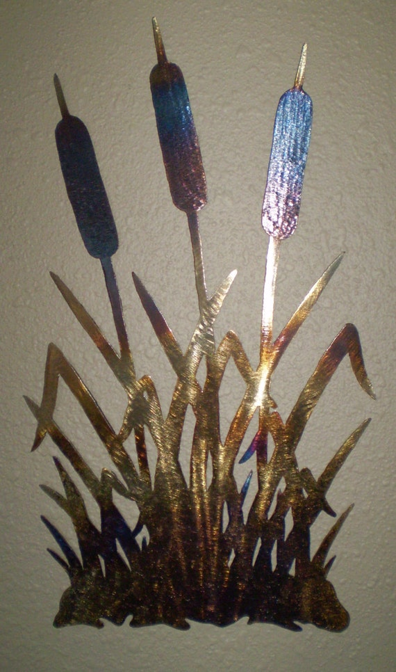 Home Decor, Cat Tails Beautiful OOAK Metal Wall Art Decor Natural Patina Coloring MADE to ORDER