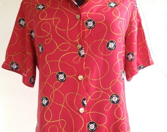 VINTAGE Women's NAUTICAL Print SHIRT w/ Anchor Buttons