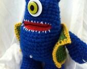 SALE- Blue Stuffed Monster Amigurumi with Vest - Alfred