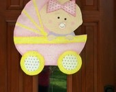 Girl Buggy Baby Burlap Door and Wall Hanger