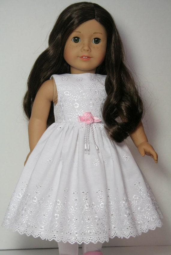 """White Eyelet Lace Broderie Anglaise Dress for 18"""" American Girl Dolls Clothes - Custom Clothing Pink Rosette pearls"""