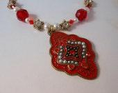 Antique Style Enamel Pendant Necklace