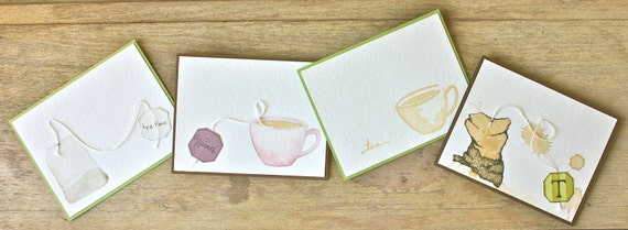 TEA TIME OOAK Cards (set of 4)
