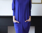 Women's Vintage Oversized Sweater Dress Purple Cocoon Shape