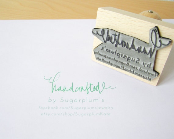 """Custom Rubber Stamp - Personalized Handcrafted By Your Shop laser cut 2 1/4"""" rubber stamp - etsy shop stamp - maker stamp - L0027"""