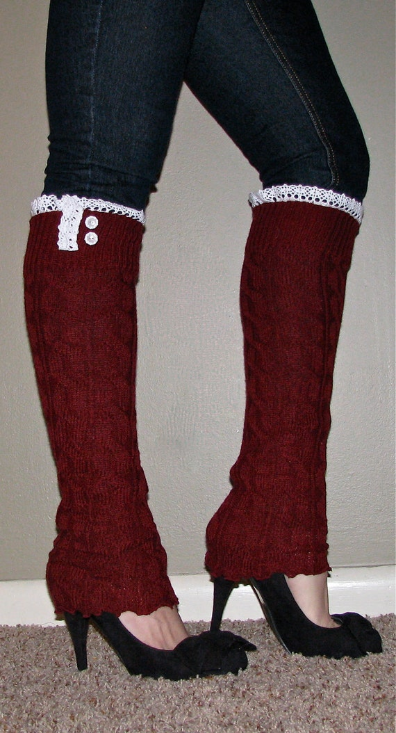 Lace and Button Leg Warmers / Boot Socks In Cranberry. Perfect with boots, heels or flats