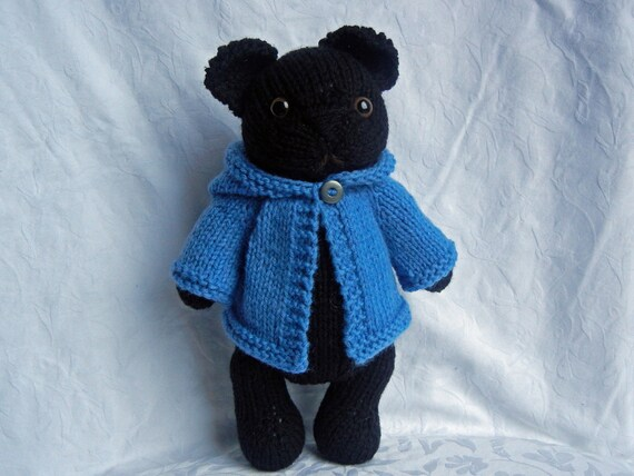 Knitted Black Pug Puppy Dog Toy with Blue Hoodie