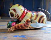 Vintage Tin Litho Toy Wind-Up Cat Chasing Ball with Key