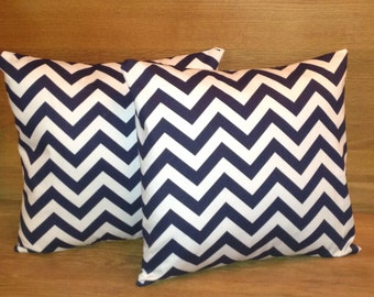 Navy and white chevron  pillow covers (set of 2)