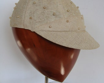 60s - The CHICEST Baseball Cap EVER - Linen adorned with Pearls.