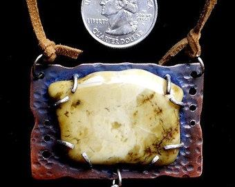 Stone Age Pendant - Sterling, silver, cooper and yellow agate. AA Alcoholics Anonymous Jewelry - One of a kind.