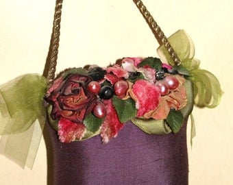 Vintage Purple Silk Purse Wall Hanging - Shabby Chic - Bouquet - Flowers - Wall Decor - Cottage Chic