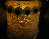 BEAUTIFUL GLASS  VOTIVE -  Lace Wrapped Votive -  Round Glass Votive wrapped with  Lace - Black Heart buttons - Shabby Cottage- Luminary