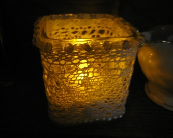 BEAUTIFUL VOTIVE-Lace Wrapped Square Votive Tea Candle - Glass Votive with White Lace - Glass beads- Luminary