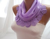 Lilac Cotton Shawl/Scarf - Headband - Cowl with Lace Edge - Spring Trends
