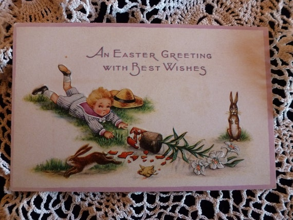 Vintage postcard - Easter - Boy, rabbits, tiny chick, broken pot of Easter Lilies.