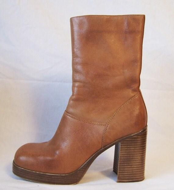 Vintage brown mid calf caramel tan leather chunky platform boots size 7 1/2 M Steve Madden