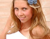Navy and white fabric flower headband