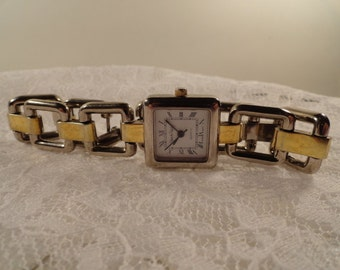 "Diane von Furstenberg Rare Signed 60s Vintage Wrist Watch, Square Face with Gold & Silver Tone ""Chain"" Band"