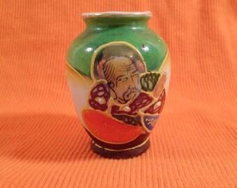 Rare 1940s Occupied Japan Miniature Vase in Orange, Green Ceramic with Raised Handpainted Picture