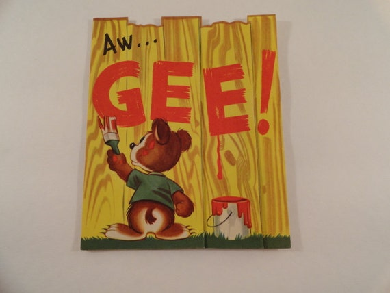 Antique 1940s Unused Get Well Greeting Card, with Graffiti Artist Bear and Long Fence Foldout